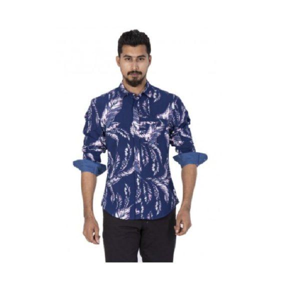 Blue-Colour-Printed-Smart-Casual-Shirt (1)