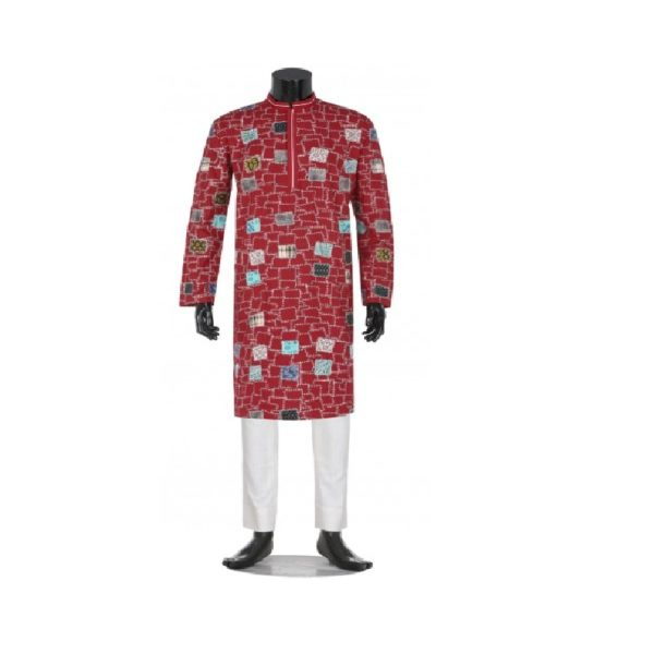 Red-Printed-and-Appliquéd-Mixed-Cotton-Panjabi (1)