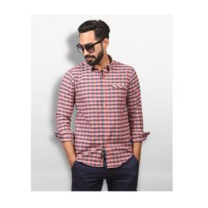 Men- Shirt-Navy and Red Striped- Cotton (1)