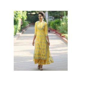 Unstitched-Yellow-Georgette-Gown